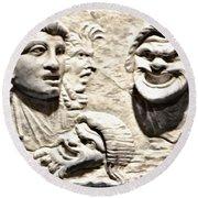 Faces Of Pompeii Round Beach Towel