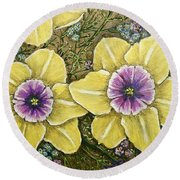 Faces Of Spring    Round Beach Towel
