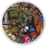 Faces Of The Goddess Round Beach Towel