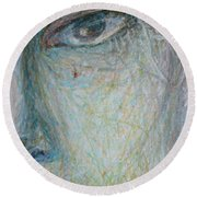 Faces - Right Close Round Beach Towel