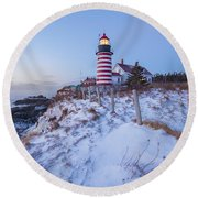 Facing East  Round Beach Towel