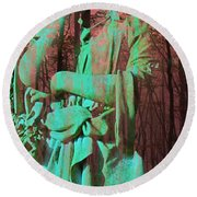 Fade Into The Woods Round Beach Towel