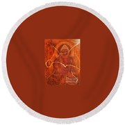 Faded Peace_sold Round Beach Towel
