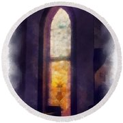 Faded Purple Stained Glass Window Photo Art Round Beach Towel