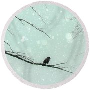 Abstract Faded Winter Round Beach Towel