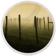 Fading Into The Fog Round Beach Towel