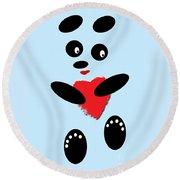 Fading Like A Flower. Panda In Love. 02 Round Beach Towel