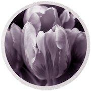Fading Tulip Flowers Lavender Gray Monochrome Round Beach Towel