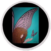 Faerie And Butterfly Round Beach Towel