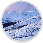 Fairfield Covered In Snow At Sunset Round Beach Towel