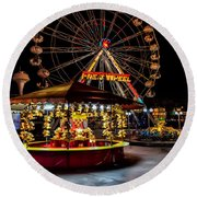 Fairground At Night Round Beach Towel