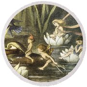 Fairies And Water Lilies Circa 1870 Round Beach Towel