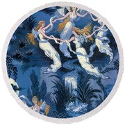 Fairies In The Moonlight French Textile Round Beach Towel
