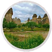 Fairy Chimneys In Cappadocia-turkey Round Beach Towel