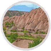 Fairy Chimneys In The Making In Cappadocia-turkey Round Beach Towel