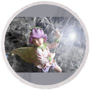 Fairy Hiding From The Light Round Beach Towel