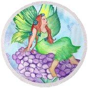 Fairy On Lilac Round Beach Towel