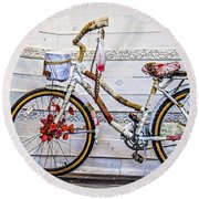 Fairy Tale Bike Flying Machine Round Beach Towel