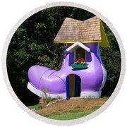 Fairy Tale Shoe House Round Beach Towel