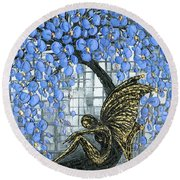 Fairy Under Blue Blossom Round Beach Towel