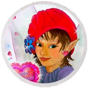Fairy Valentine Round Beach Towel