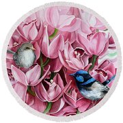 Fairy Wrens And Orchids Round Beach Towel