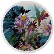 Fairyland Asters Round Beach Towel