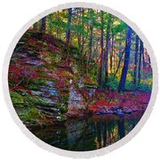 Fairyland Forest Round Beach Towel