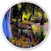 Fairyland Of Gnomes Round Beach Towel