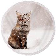 Fairytale Fox _ Red Fox In A Snow Storm Round Beach Towel
