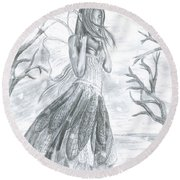 Fairytale Winter Round Beach Towel