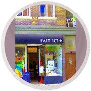 Fait Ici Organic General Store Notre Dame Corner Charlevoix St Henri Shops City Scene Carole Spandau Round Beach Towel