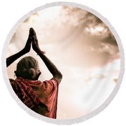 Faith And Prayers For Peace Round Beach Towel by Nila Newsom