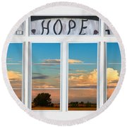Faith  Hope Love Nature Window View Round Beach Towel