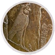 Falcon Symbol For Horus In A Crypt In Temple Of Hathor In Dendera-egypt Round Beach Towel