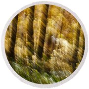 Fall Abstract Round Beach Towel by Steven Ralser