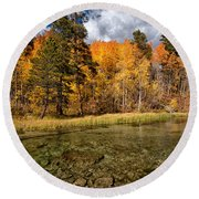 Fall Along Bishop Creek Round Beach Towel by Cat Connor