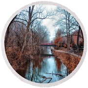 Fall Along The Delaware Canal Round Beach Towel