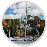 Fall And The Sailboats Round Beach Towel