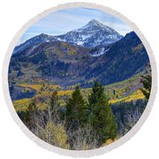 Fall At Cascade Peak And Sundance From Alpine Loop  Round Beach Towel