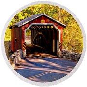 Fall At Kurtzs Mill Covered Bridge Round Beach Towel