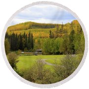 Fall At The Course Round Beach Towel
