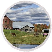 Fall At The Horse Farm Round Beach Towel