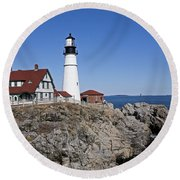 Fall At The Lighthouse Round Beach Towel
