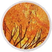 Fall At The Shore Round Beach Towel