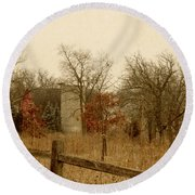 Fall Barn Round Beach Towel