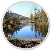Fall Beaver Dam Round Beach Towel