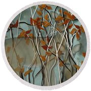 Fall Branches With Deer Round Beach Towel