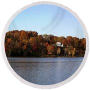 Fall By The River Round Beach Towel