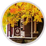 Fall Canopy Over Victorian Porch Round Beach Towel